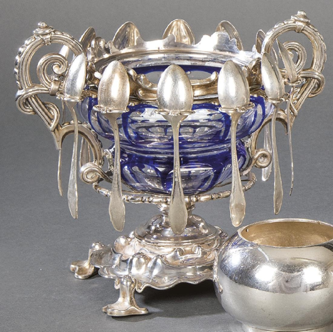 Caviar dish in French hallmarked silver and glazed and