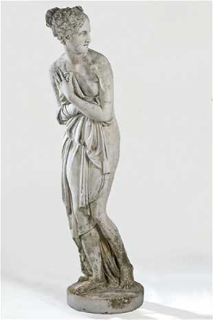 Vénus Púdica Garden Sculpture Carved In Limestone 20th