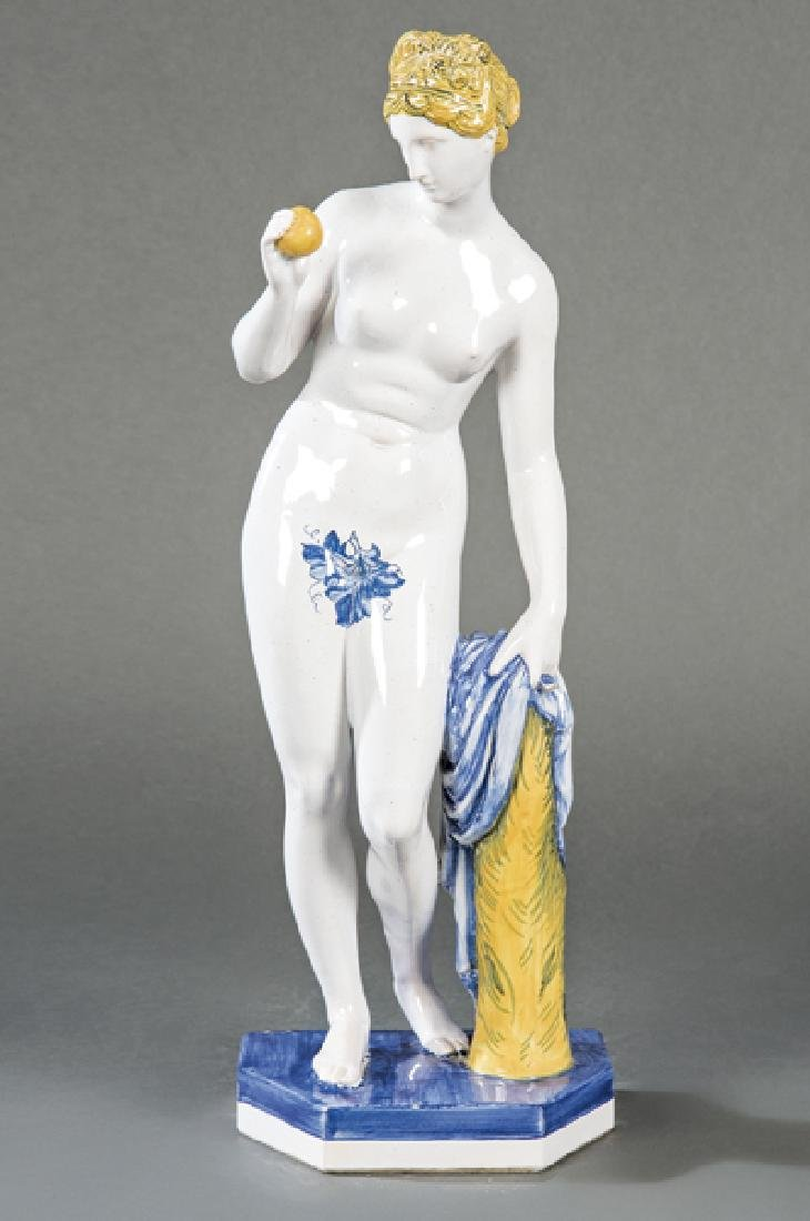 French Venus figure in polychrome ceramic, Rouan,