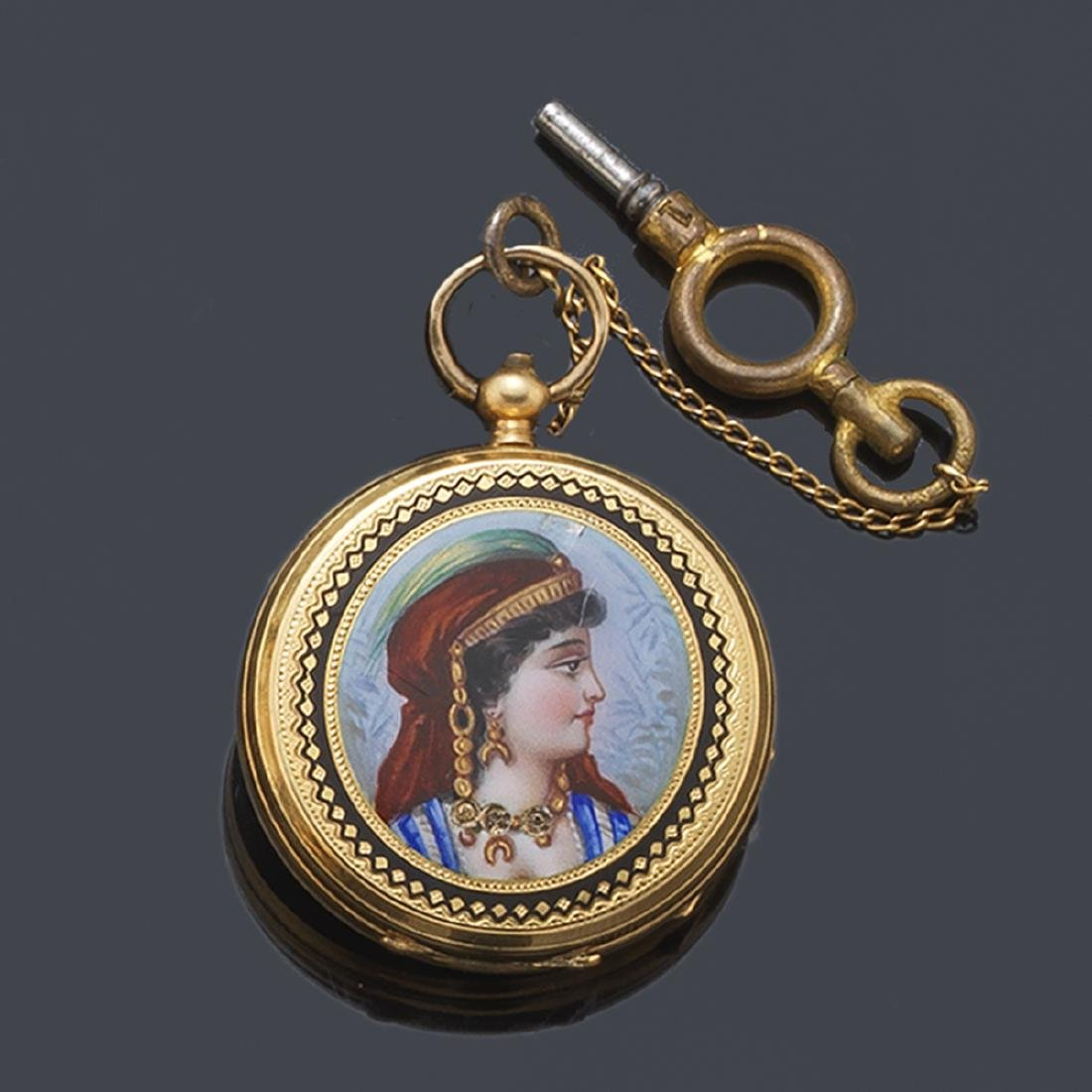 BAUTTE Geneve. Brooch watch in 18K yellow gold and