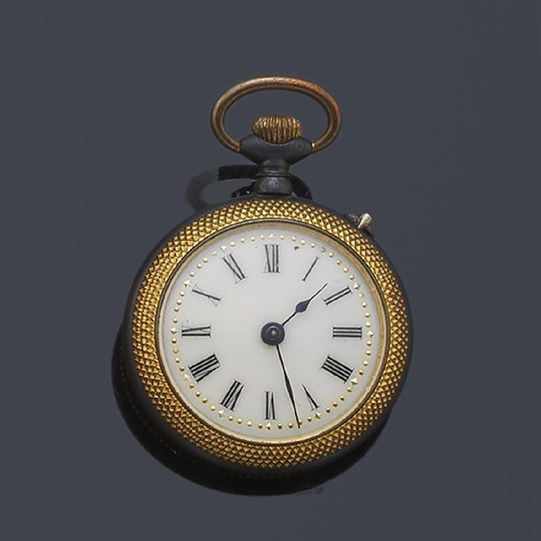 Pocket watch, blued in black and enamel.