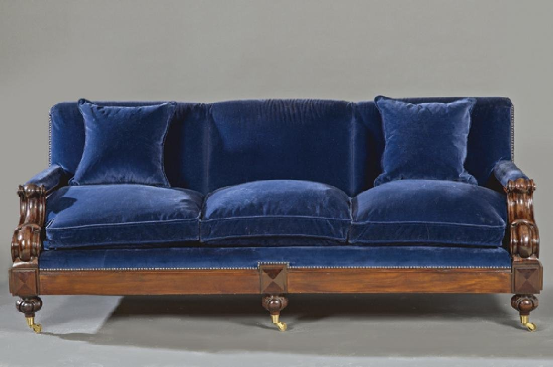 English sofa in mahogany with upholstery in blue