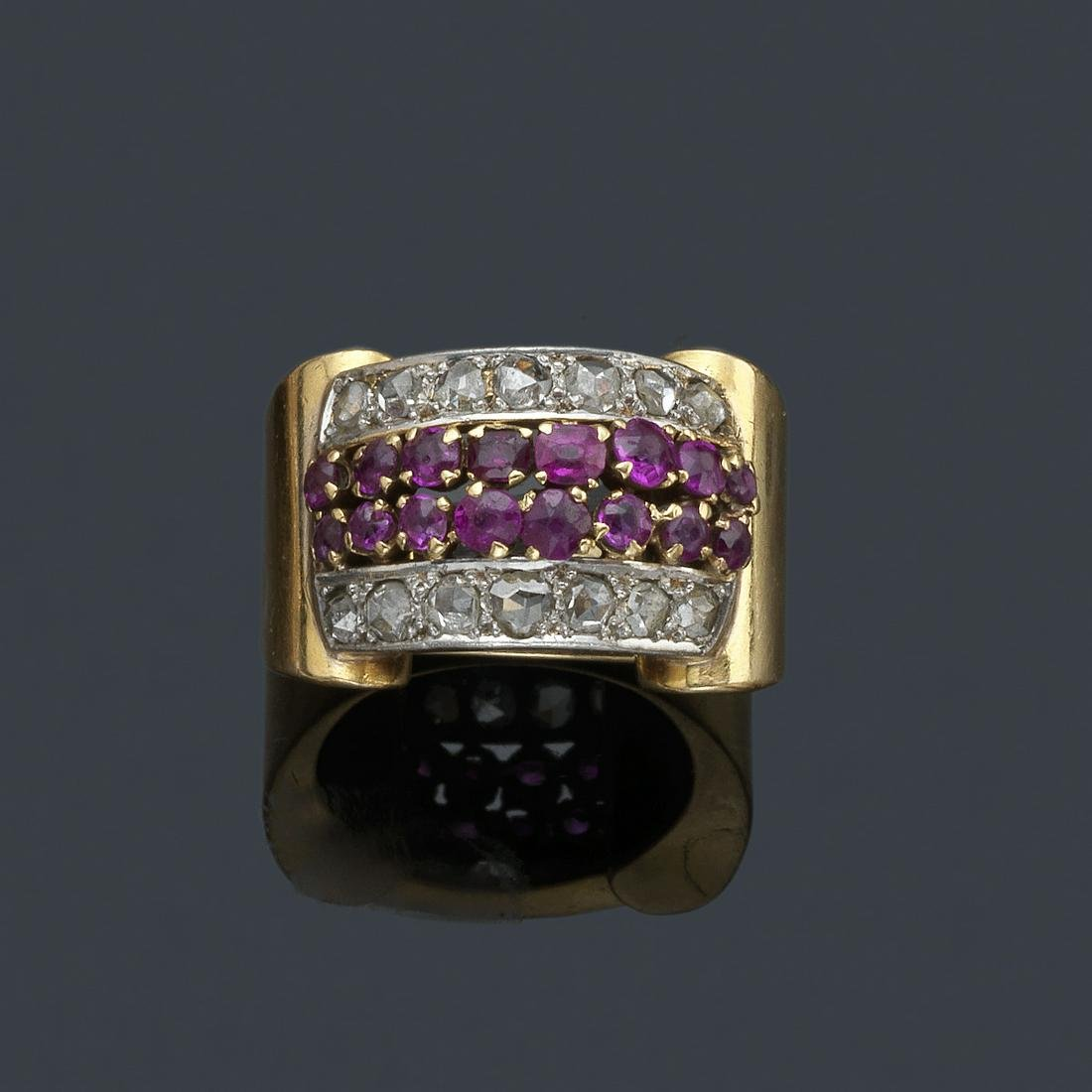 Retro ring with with double central band of rubies