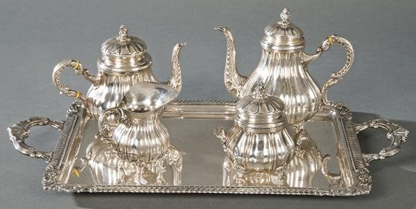 Coffee and tea set in Spanish hallmarked sterling