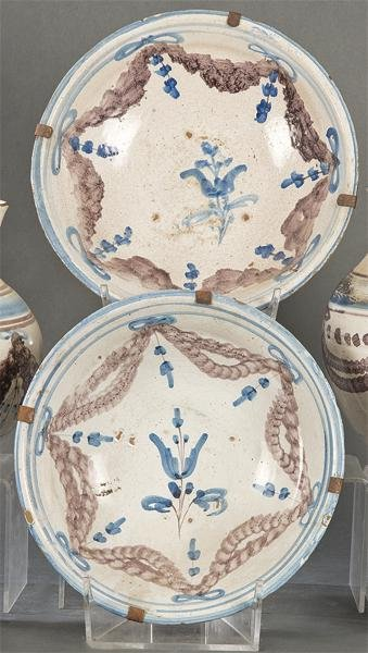 Lot of two ceramic bowls decorated with gazebos,