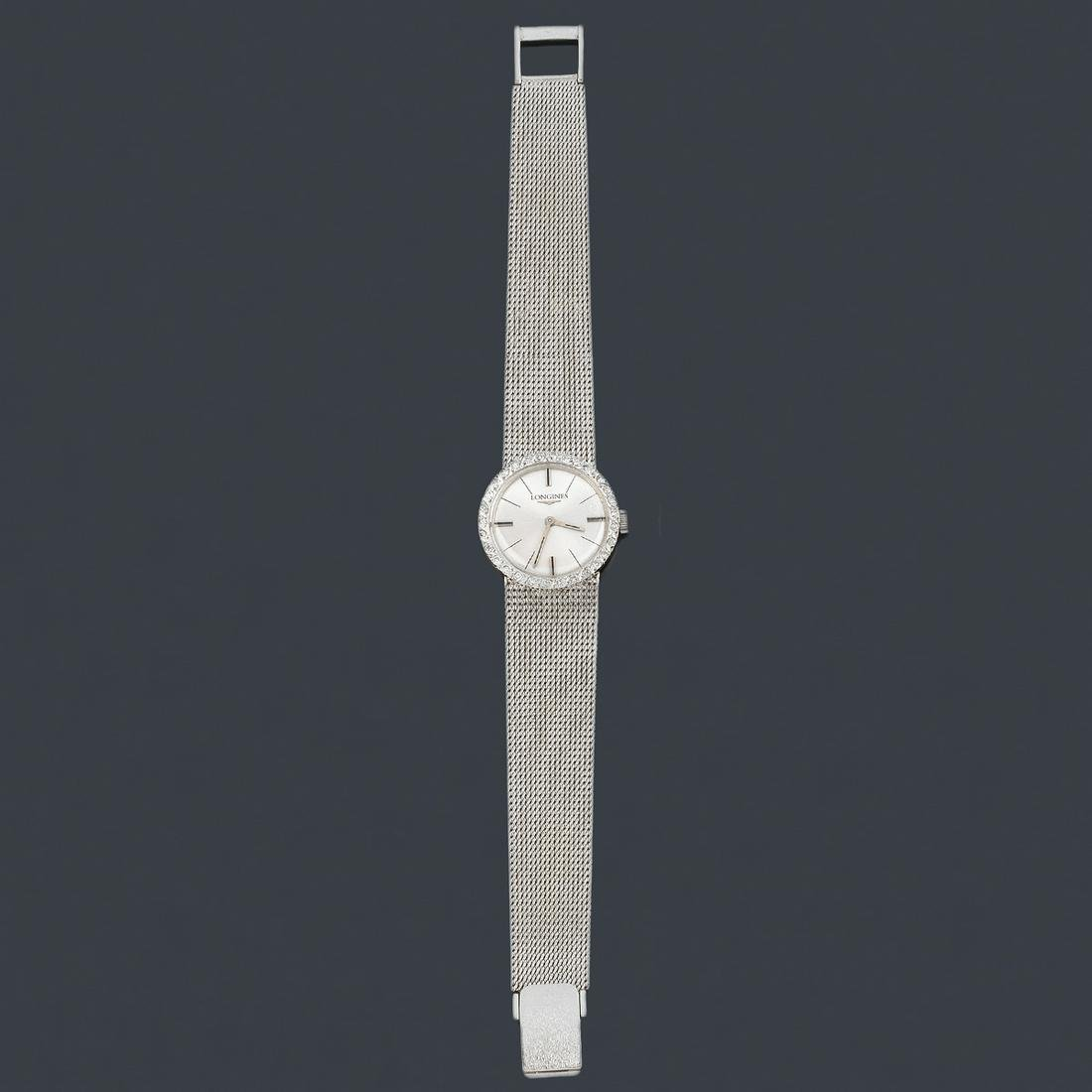 LONGINES ladies' with case and band in 18K white gold