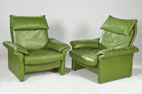 Pair of Italian armchairs in green leather, 1980s