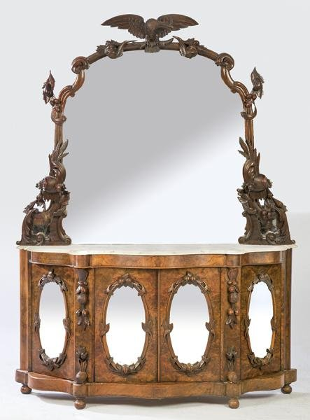 Victorian walnut sideboard and walnut root in carved
