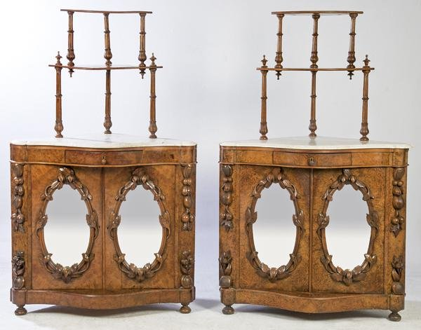 Pair of Victorian corner cupboards in walnut wood and