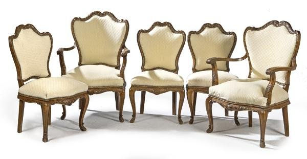Set of two armchairs and three Louis XV style chairs