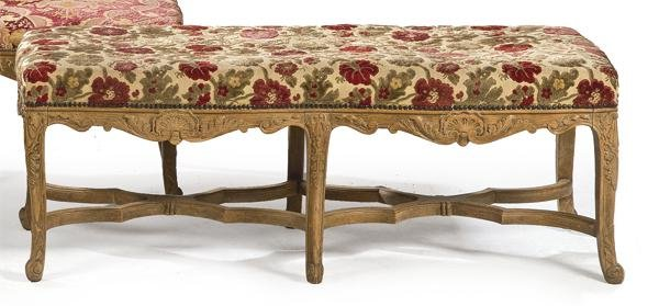 Louis XV style bench in carved oak wood with  X  legs,