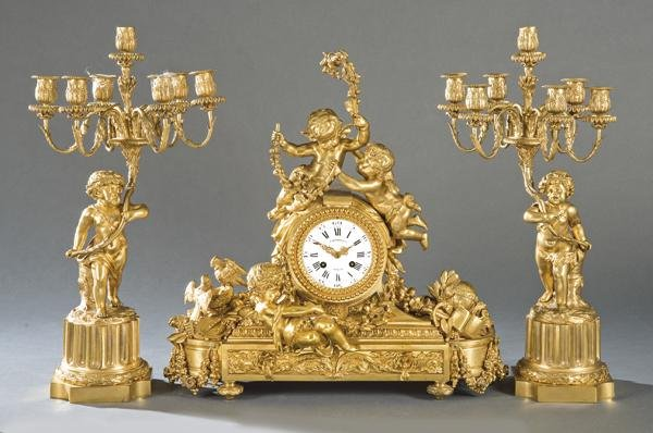 Napoleon III chimney clock, Louis XVI style in gilded