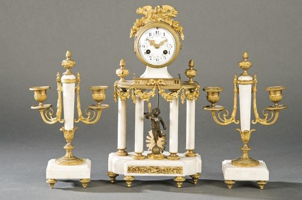 Table clock with Napoleon III Louis XVI style trim in