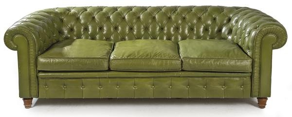 Three-seat  Chesterfield  sofa, with green leather
