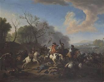 JAN VAN HUCHTENBURGH - Battle scene. 1707