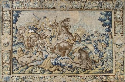 """French wool and silk tapestry """"The Battle of Vesuvius"""
