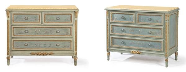 Pair of Louis XVI commodes in lacquered wood with