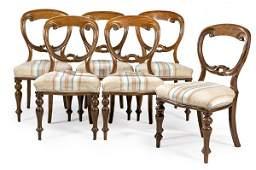 Set of six English mahogany wood chairs, Victorian