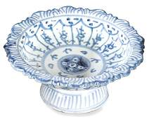 Libation cup in blue and white Chinese porcelain, for