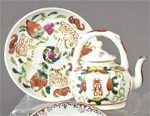 Teapot with its plate in Chinese porcelain with