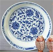 Small blue and white Chinese porcelain cupped plate