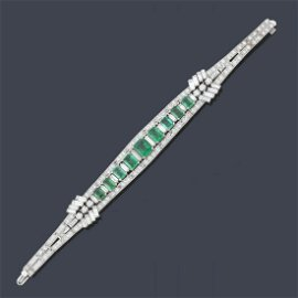 Magnificent bracelet with emeralds of approx. 9.75 ct