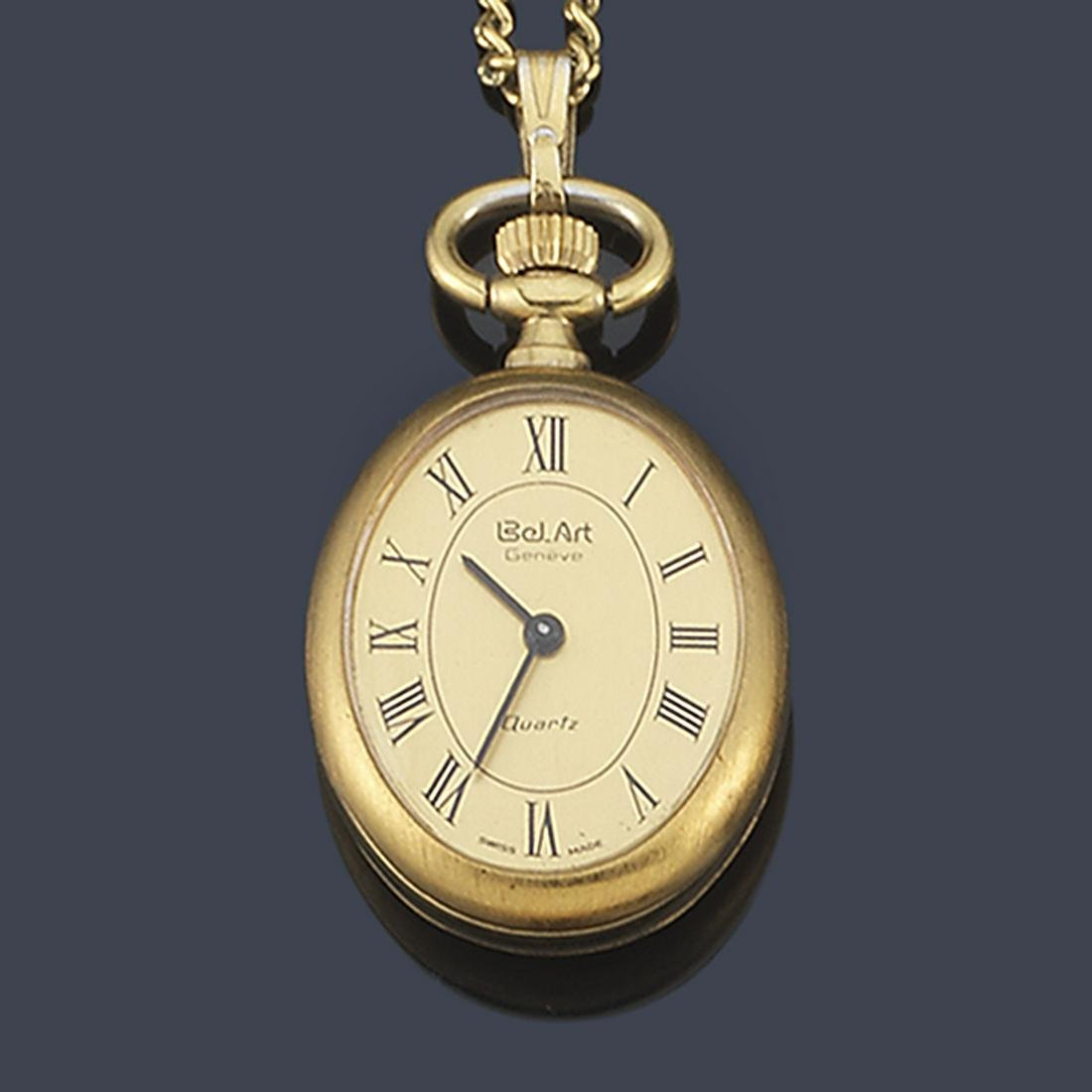 BELT ART hanging watch with gold plated chain.