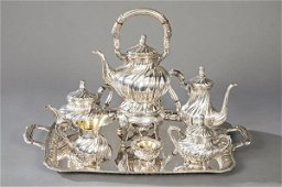 Spanish silver tea and coffee punched set, Espuñes.