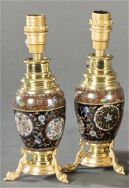 Pair of table lamps made with a XIX Japanese cloisonne