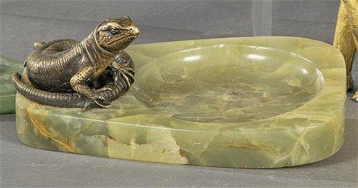 Art Deco gilt bronze and green onyx ashtray, h.
