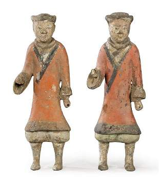Terracotta warrior couple with cold pigment