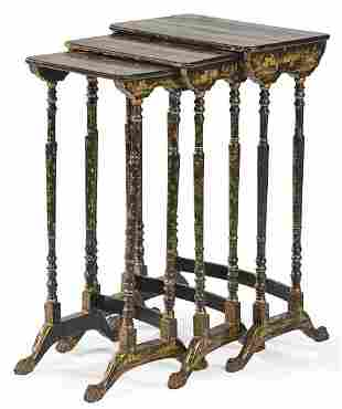 Chinese black lacquer nesting tables with gold