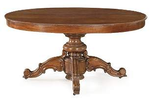 Louis Philippe extendable dining table on carved
