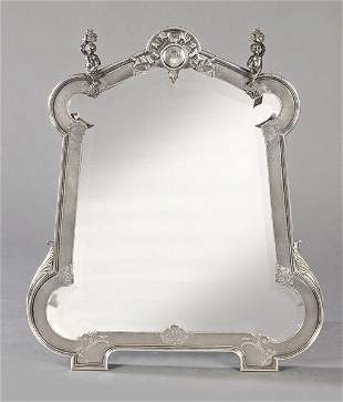 Table mirror with wood soul and punched French silver