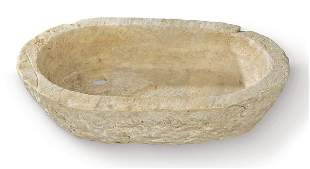 Oval holy water font in carved white marble, Spain 20th