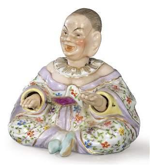 Glazed porcelain pagoda figure from Berlin, depicting a