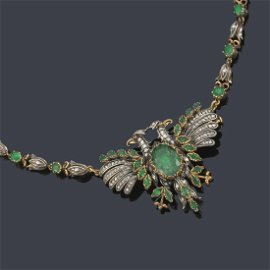 Necklace with rose cut diamonds and emerald simile in