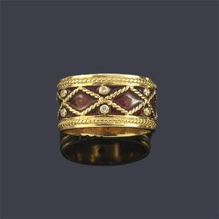YANES   'Malpica' collection ring with garnet enamel