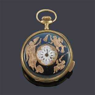 Quarter repeating automaton clock with gold metal case.