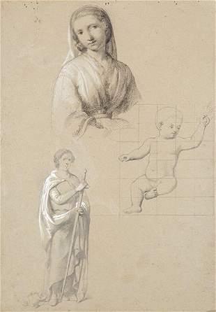 SPANISH SCHOOL. 19th century - Study of Virgin and