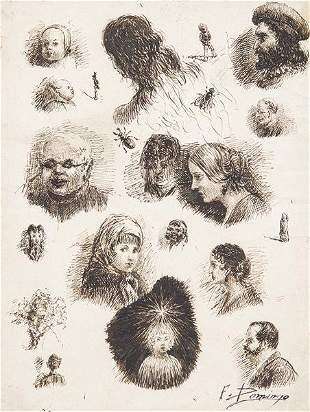 FRANCISCO DOMINGO MARQUÉS - Study of faces of