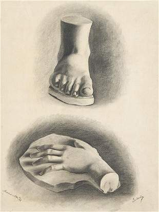 SPANISH SCHOOL. 19th century - Study of hands and foot