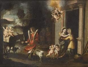 SEVILLANA SCHOOL, 17th century - Meeting between the