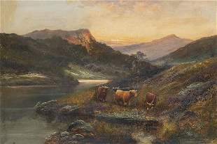 WILLIAM HENRY COOPER - Landscape with cows grazing