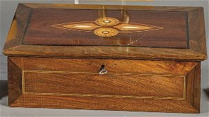 Spanish walnut box with fruit and mother-of-pearl