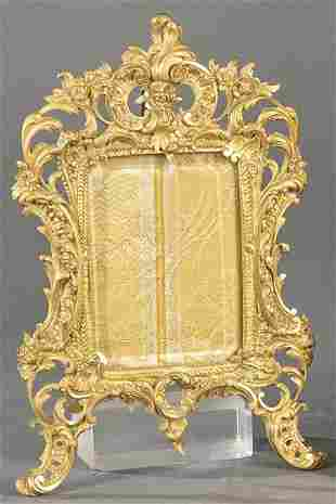Rococo tabletop portrait frame, in bronze, Napoleon III