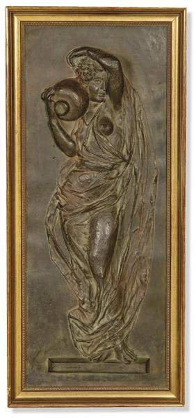 Woman with Pitcher in patinated metal in the middle of