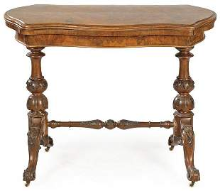 William IV game table in mahogany wood on turned and
