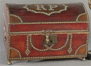 Small wooden trunk lined with studded leather, Spain