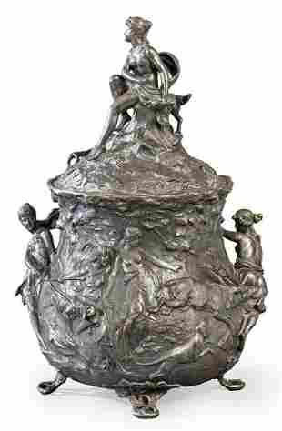 "Jugendstil ""Diana's Hunting Party"" punch bowl in silver"